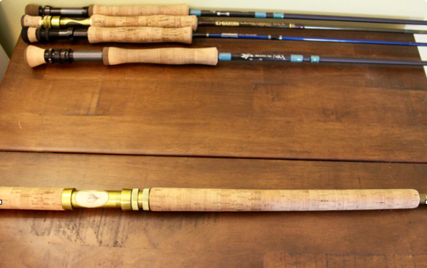 The handle on a two handed rod for comparison