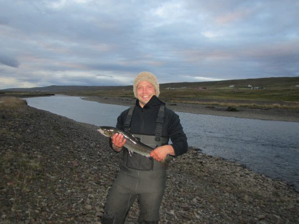 Gosi with his first salmon
